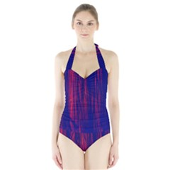 Abstract Color Red Blue Halter Swimsuit