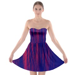 Abstract Color Red Blue Strapless Bra Top Dress