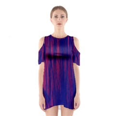 Abstract Color Red Blue Shoulder Cutout One Piece