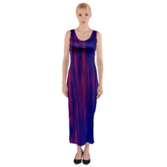 Abstract Color Red Blue Fitted Maxi Dress