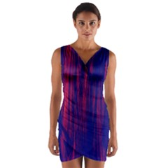Abstract Color Red Blue Wrap Front Bodycon Dress