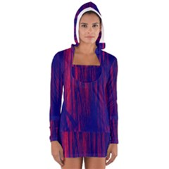 Abstract Color Red Blue Women s Long Sleeve Hooded T Shirt