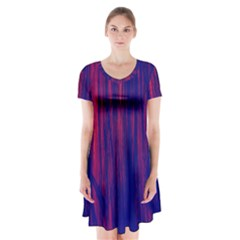 Abstract Color Red Blue Short Sleeve V Neck Flare Dress