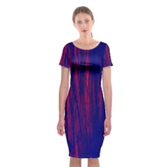 Abstract Color Red Blue Classic Short Sleeve Midi Dress