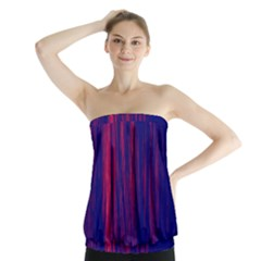 Abstract Color Red Blue Strapless Top