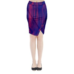 Abstract Color Red Blue Midi Wrap Pencil Skirt