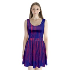 Abstract Color Red Blue Split Back Mini Dress