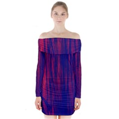 Abstract Color Red Blue Long Sleeve Off Shoulder Dress