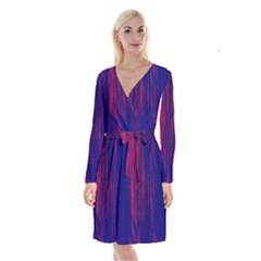 Abstract Color Red Blue Long Sleeve Velvet Front Wrap Dress