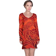 Orange Abstract Background Long Sleeve Nightdress