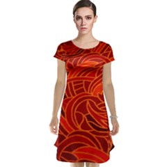 Orange Abstract Background Cap Sleeve Nightdress