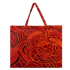 Orange Abstract Background Zipper Large Tote Bag