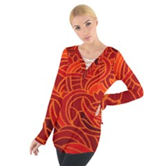 Orange Abstract Background Women s Tie Up Tee