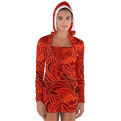 Orange Abstract Background Women s Long Sleeve Hooded T Shirt