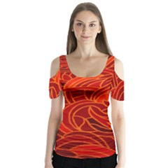 Orange Abstract Background Butterfly Sleeve Cutout Tee
