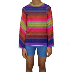 Fiesta Stripe Bright Colorful Neon Stripes Cinco De Mayo Background Kids  Long Sleeve Swimwear