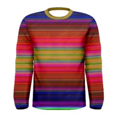 Fiesta Stripe Bright Colorful Neon Stripes Cinco De Mayo Background Men s Long Sleeve Tee