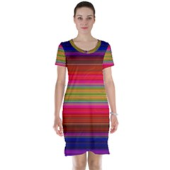 Fiesta Stripe Bright Colorful Neon Stripes Cinco De Mayo Background Short Sleeve Nightdress