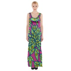 Big Growth Abstract Floral Texture Maxi Thigh Split Dress