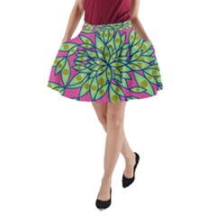 Big Growth Abstract Floral Texture A Line Pocket Skirt