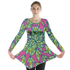 Big Growth Abstract Floral Texture Long Sleeve Tunic