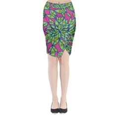 Big Growth Abstract Floral Texture Midi Wrap Pencil Skirt