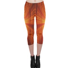 Abstract Wallpaper With Glowing Light Capri Leggings