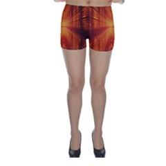 Abstract Wallpaper With Glowing Light Skinny Shorts