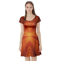 Abstract Wallpaper With Glowing Light Short Sleeve Skater Dress