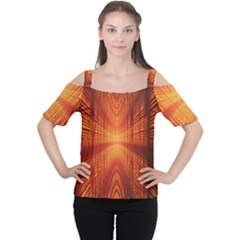 Abstract Wallpaper With Glowing Light Women s Cutout Shoulder Tee
