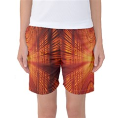 Abstract Wallpaper With Glowing Light Women s Basketball Shorts