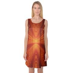 Abstract Wallpaper With Glowing Light Sleeveless Satin Nightdress
