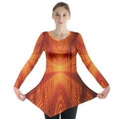 Abstract Wallpaper With Glowing Light Long Sleeve Tunic