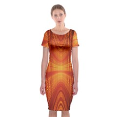 Abstract Wallpaper With Glowing Light Classic Short Sleeve Midi Dress