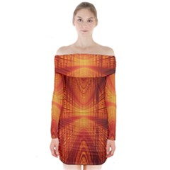 Abstract Wallpaper With Glowing Light Long Sleeve Off Shoulder Dress