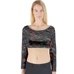 Volcanic Lava Background Effect Long Sleeve Crop Top