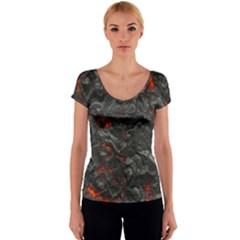 Volcanic Lava Background Effect Women s V-Neck Cap Sleeve Top