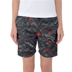 Volcanic Lava Background Effect Women s Basketball Shorts