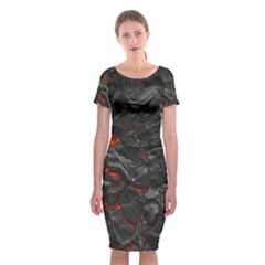 Volcanic Lava Background Effect Classic Short Sleeve Midi Dress