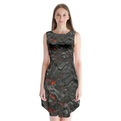 Volcanic Lava Background Effect Sleeveless Chiffon Dress