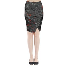 Volcanic Lava Background Effect Midi Wrap Pencil Skirt