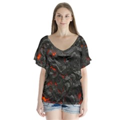 Volcanic Lava Background Effect Flutter Sleeve Top
