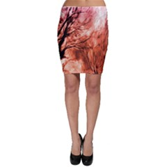 Fire In The Forest Artistic Reproduction Of A Forest Photo Bodycon Skirt