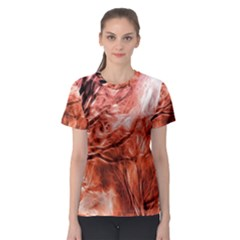 Fire In The Forest Artistic Reproduction Of A Forest Photo Women s Sport Mesh Tee