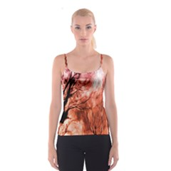 Fire In The Forest Artistic Reproduction Of A Forest Photo Spaghetti Strap Top