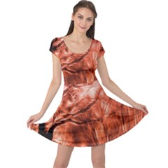 Fire In The Forest Artistic Reproduction Of A Forest Photo Cap Sleeve Dresses