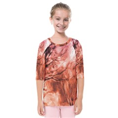 Fire In The Forest Artistic Reproduction Of A Forest Photo Kids  Quarter Sleeve Raglan Tee