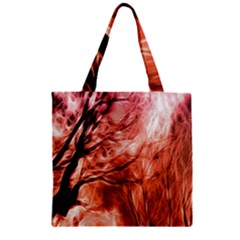 Fire In The Forest Artistic Reproduction Of A Forest Photo Zipper Grocery Tote Bag