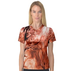 Fire In The Forest Artistic Reproduction Of A Forest Photo Women s V-Neck Sport Mesh Tee