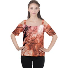 Fire In The Forest Artistic Reproduction Of A Forest Photo Women s Cutout Shoulder Tee